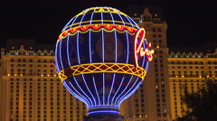 4: Neon Montgolfier Balloon at The Paris Hotel Las Vegas Stock Footage