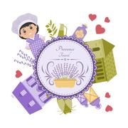 Vector elements of Provence in circle Stock Illustration
