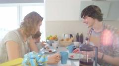 happy caucasian family celebrates birthday - stock footage