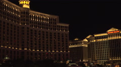 4K: Las Vegas Skyline at The Bellagio Hotel Stock Footage