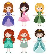 Collection of beautiful princesses Stock Illustration