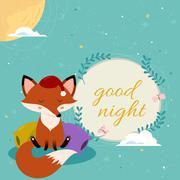 Good night card with cute cartoon sleepy fox on the pillows Stock Illustration