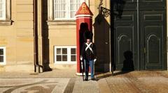 Royal Guard - Amalienborg Palace - Copenhagen Denmark Stock Footage