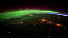 View on Earth, Atmosphere and Aurora from space 4K - stock footage