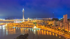 Macau Cityscape Day To Night Time Lapse - stock footage
