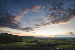 Beautiful landscape image of sunset over countryside landscape in England Stock Photos