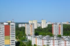 Top view of Zelenograd Administrative District, Moscow - stock photo