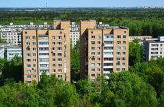 Top view of Zelenograd Administrative District, Moscow Stock Photos
