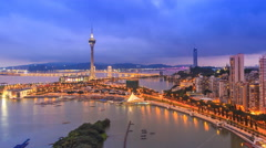 Macau Cityscape Day To Night Time Lapse (pan shot) Stock Footage