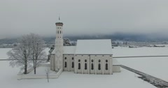 Aerial view of St. Coloman Church in Southern Germany Stock Footage