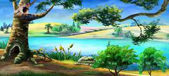 Big Old Tree on the River Bank. Panorama. Stock Illustration