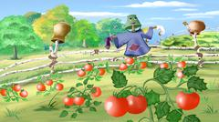 Rural landscape with Scarecrow in a Kitchen Garden. Stock Illustration