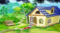 Village Garden House - stock illustration