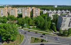 Top view of Solnechnaya alley in Zelenograd Administrative District, Moscow Stock Photos