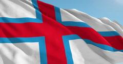 Beautiful looping flag blowing in wind: Faroes Stock Footage