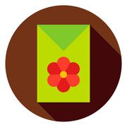 Flower Garden Seeds Package Circle Icon - stock illustration