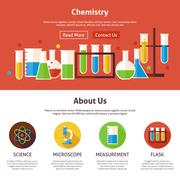 Chemistry Science Flat Web Design Template Stock Illustration