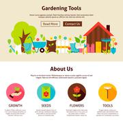 Gardening Tools Flat Web Design Template - stock illustration