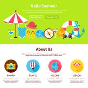 Hello Summer Flat Web Design Template Stock Illustration