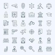 Line Lawyer Attorney and Crime Icons Set Stock Illustration