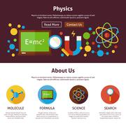 Physics Science Flat Web Design Template Stock Illustration