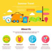 Summer Travel Flat Web Design Template - stock illustration
