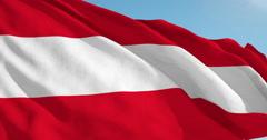 Beautiful looping flag blowing in wind: Austria - stock footage