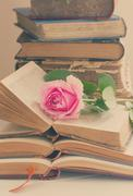 Old books with rose flower - stock photo