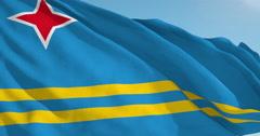 Beautiful looping flag blowing in wind: Aruba - stock footage
