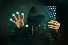 Fingerprint identification app on futuristic tablet computer device Stock Photos