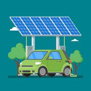 Electric car charging at the charger station in front of solar panels. Vector Piirros