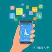 Smart phone sport app with icons. Fitness mobile application concept. Vector - stock illustration