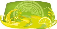 splashes of juice over color background - stock illustration