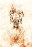 Man in mystic fire and ornamental dragons, pencil sketch on paper, sepia and Stock Illustration