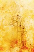 Drawing of knight with sword, pencil sketch on paper, sepia and vintage effect - stock illustration