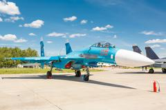 KUBINKA, RUSSIA - JUN 18, 2015: The Sukhoi Su-27 (Flanker) is a russian multi Stock Photos