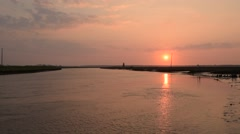 Sunset at the river Stock Footage