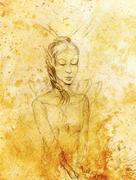 Drawing of elf woman, pencil sketch on paper, sepia and vintage effect Stock Illustration