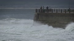 Stormy,wild waves crashing against promenade wall 2 Stock Footage