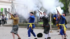 Kosice, Slovakia: Musketeers shooting at the city festival. Slow Stock Footage