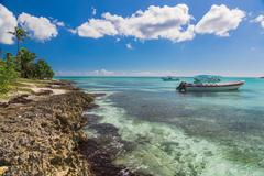 Boat near Saona, Carribean Sea - stock photo