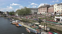 Crowds in Richmond relaxing beside the River Thames  (in 4K), London, UK Stock Footage