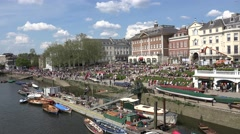 Crowds in Richmond relaxing beside the River Thames  (in 4K), London, UK - stock footage