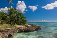 Wild coral tropical beach, Saona Island, Caribbean Sea - stock photo