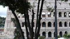 Rome Colosseum - Coliseum camera glide movement antique architecture Stock Footage