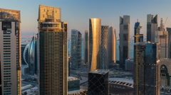 Time lapse of sunrise over downtown & central business district, Doha Stock Footage