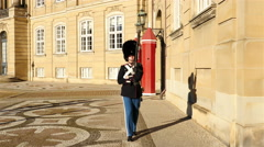 Royal Guard - Amalienborg Palace - Copenhagen Denmark Stock Footage