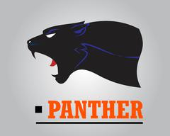 Fearless Panther. Roaring Panther. Panther head. - stock illustration