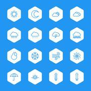 line weather icon set on white hexagon - stock illustration