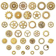 Set of Vintage Mechanical Cogwheel Gears Wheels Stock Photos